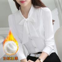 韩版职业白色衬衫长袖上衣雪纺宽松蝴蝶结加绒衬衣女2018春装新款