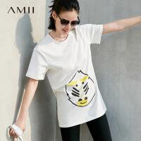 【会员节! 每满100减50】Amii极简原宿ulzzang港味T恤2018夏季新款个性印花弹力拉架棉上衣