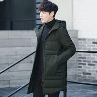 男士中长款连帽棉衣韩版修身保暖棉袄大口袋休闲时尚青年学生 X