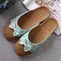 夏季居家蝴蝶结亚麻凉拖鞋女男家居室内木地板防滑日式包头拖鞋