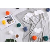 家纺立体卡通全棉空调毯宝宝沙发盖毯推车毯婴童针织毛毯纯棉 90x110cm