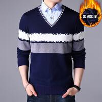 男士加绒加厚假两件商务格子衬衫男秋冬新品套头修身条纹保暖毛衣
