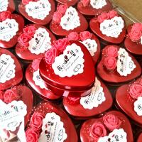 马口铁喜糖盒子创意装喜糖的盒子批发小号铁盒婚庆糖盒结婚 红色 玫瑰花款