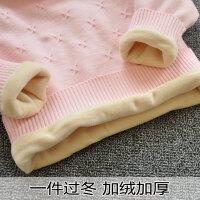 秋冬季女童加绒毛衣加厚保暖针织衫小童高领毛衫宝宝打底衫纯棉