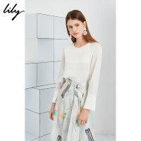 【2件4折到手价:211.6元】 Lily20夏新款气质拼接压褶圆领宽松白色套头衬衫女119220C8122