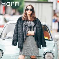 2017冬季新款欧美风皮毛一体假两件冬季外套保暖时尚女式外套 黑色
