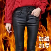 冬天加绒加厚款皮裤女哑光高腰外穿打底裤紧身弹力保暖带绒铅笔裤 黑色