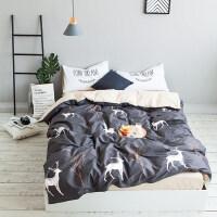 家纺全棉北欧小清新可爱卡通床单四件套纯棉被套简约式床上用品欧美风
