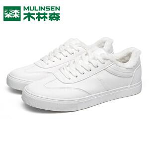 木林森男鞋季加绒保暖小白鞋韩版潮流休闲板鞋平底学生鞋