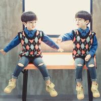2岁儿童马甲春秋男宝宝针织衫5男童秋季毛线衣背心3小男孩4羊毛衫 颜色如图