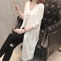 2018春夏季冰丝针织开衫女空调衫新款时尚薄款防晒衫长款披肩外套