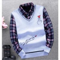 韩观秋冬毛衣男加绒加厚假两件毛衫衬衫领针织衫青少年修身保暖毛线衫