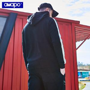 【限时抢购到手价:99元】AMAPO潮牌大码男装春季胖子加肥加大码宽松连帽嘻哈长袖卫衣T恤男
