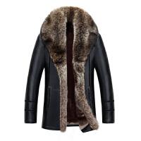 新款促销男士中长款大毛领真皮皮衣翻领绵羊皮毛一体大码加厚外套