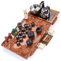茶具套装冰裂陶瓷紫砂功夫茶具四合一电热炉实木茶盘整套喝茶茶道父亲节礼物