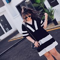 胖MM黑白拼接雪纺连衣裙加大码女装V领遮肚子中裙胖丫头显瘦裙子 黑色