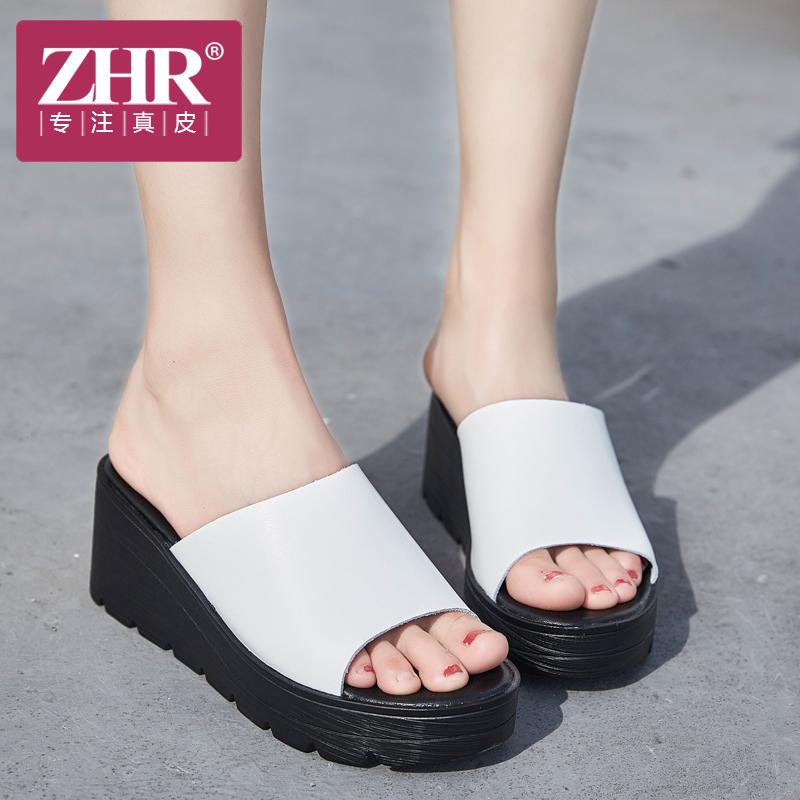 ZHR凉拖鞋女厚底简约舒适坡跟一字拖时尚外穿真皮松糕懒人拖2018夏新品