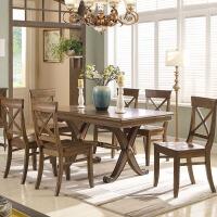 【限时直降3折】美式古典实木餐桌长餐桌组合 六人吃饭餐椅桌子