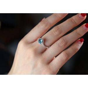 精品蓝托帕石戒指,柔情似水,佳期如梦!
