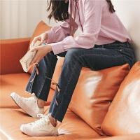 深色微喇牛仔裤春秋装女2019新款韩版显瘦开叉心机网红直筒裤子潮