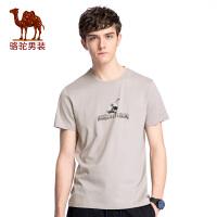 骆驼男装 年夏季新款休闲印花圆领T恤 男青年无弹短袖上衣
