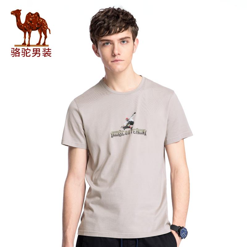 骆驼男装 2018年夏季新款休闲印花圆领T恤 男青年无弹短袖上衣