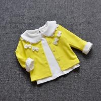 童装秋季宝宝单层立体蝴蝶结纯棉外套甜美女童薄款开衫1-2-3-4岁
