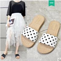 拖鞋女外穿韩版时尚拖鞋女新款学生网红波点一字拖沙滩鞋