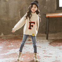 女童毛衣=秋冬童装高领中大童儿童保暖女孩打底针织衫