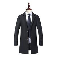 商务休闲冬季羊毛呢子外套男装毛呢大衣中长款青年修身妮子风衣潮 黑色 M