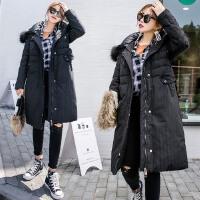 2017冬季新款真貉子大毛领条纹羽绒服女中长款大码加厚修身外套潮