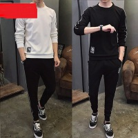 韩版学生圆领长袖卫衣打底衫 新款男士长袖T恤休闲套装潮 帅气男生大码运动衫长裤