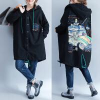 韩版大码女装秋冬胖妹妹加厚羊羔绒棉衣200斤胖mm冬季 中长款