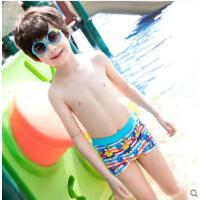 儿童泳裤男童宝宝泳衣平角速干温泉婴儿卡通条纹小汽车游泳裤