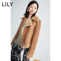 LILY2019冬新款复古不对称领收腰修身仿皮草短外套女119420I3119