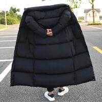 冬季新款中长款棉衣男加肥加大码棉大衣韩版潮流棉袄风衣外套 黑色