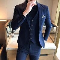 秋季男士西服套装修身休闲三件套小西装男青年结婚礼服小西服外套 1722 蓝色