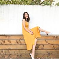 夏季新款明星同款连衣裙中长款气质黄色高腰无袖吊带显瘦度假裙女 鹅蛋黄