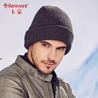kenmont户外男士帽子秋冬天纯色针织帽韩版潮加厚毛线帽套头帽1722