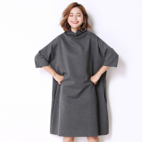 加肥超大码女装连衣裙秋装200斤新款遮肚子藏肉高领蝙蝠袖卫衣裙