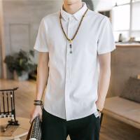 2018夏季纯色亚麻短袖衬衫男士韩版休闲白色衬衣百搭寸衫 白色 CS7070