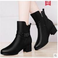 雅诗莱雅新款秋季高跟马丁靴英伦风女鞋加绒靴子冬鞋中筒靴女粗跟短靴
