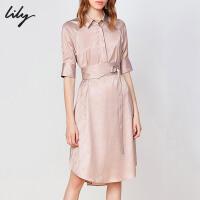 【2件4折到手价:307.6元】 Lily20夏新款女气质光泽感粉色字母肌理腰封收腰衬衫连衣裙119249C7927