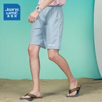 真维斯男装宽松短裤 2021夏装新款 潮流松紧腰休闲字母印花沙滩裤