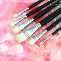 马蒂斯尼龙羊毫水彩笔平头水粉丙烯笔油画笔美术用品6支套装