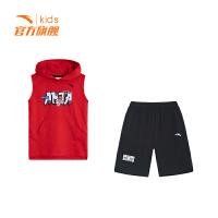 安踏(ANTA)官方旗舰店 儿童夏季针织运动套小童短裤短袖透气学生套装背心A35929204