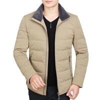冬季新款休闲中年男士轻薄羽绒服外套修身短款白鸭绒爸爸男装