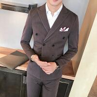 秋冬季西装男双排扣外套修身韩版青年单西上衣男士休闲小西服外套 深棕色 M