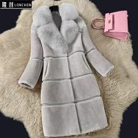 2017秋冬韩版女新款羊剪绒皮毛一体大衣中长款仿狐狸毛领皮草外套