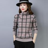 2018冬季新品新款套头毛衣女格子民族风针织衫堆堆领大码打底衫